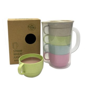 MGS0602 Straw Wheat Jug (1.6L) & Cups Set