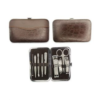 TT0359 – 9 piece Manicure Set in Brown PU Skin
