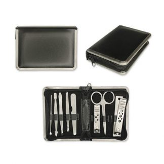TT0360 – 8 piece Manicure Set in Black PU with Silver Trimmings