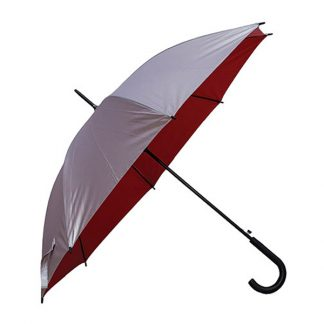 "UMB0104 - 24"" Silver Coated Umbrella with Crook Handle - Red"