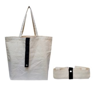 BG1032 Foldable Canvas Shopping Bag with Coloured Strap