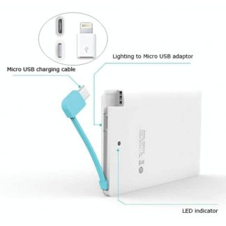 IT0444 Slim Powerbank with Micro USB & iPhone Pin - 2500mAh