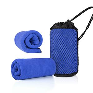 TWL0009 Blue Microfibre Towel with Mesh Bag