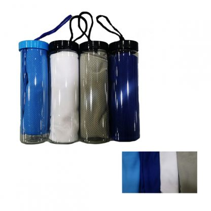 TWL0056 Micro Fibre Cooling Towel with Container & Hand Strap