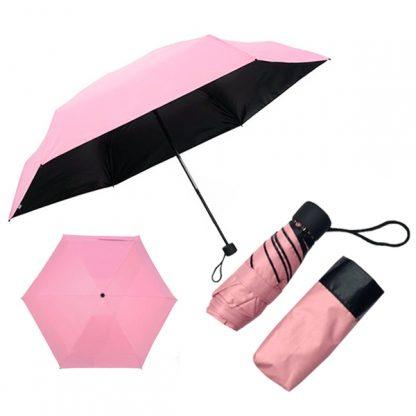 UMB0115 - 5 Folds/Section Black Coated Manual Open Foldable Umbrella