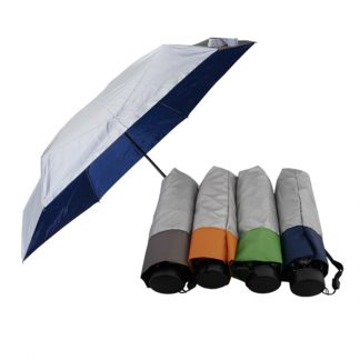 UMB0117 - 5 Folds/Section Silver Coated Manual Open Foldable Umbrella