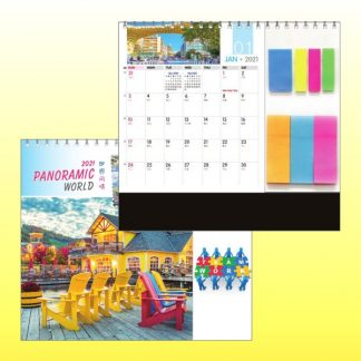 CLD0082 Wire-O Desk Calendar with Sticky Pads