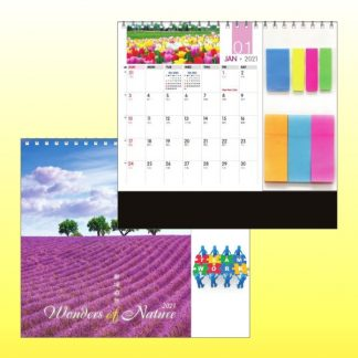 CLD0083 Wire-O Desk Calendar with Sticky Pads